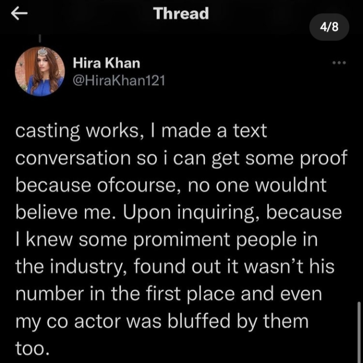 Hira Khan Opened Up About Her Recent Casting Couch Experience