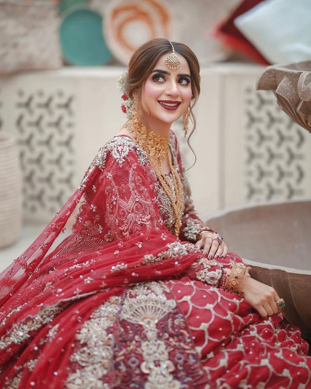 Saboor Aly Looks Regal In A Gorgeous Red Bridal Ensemble
